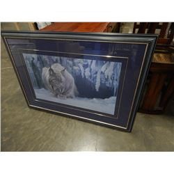 LARGE ROBERT BATEMAN PRINT 1987 SLEEPING LYNX