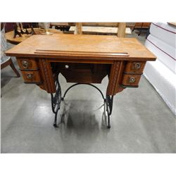 DOMESTIC OAK SEWING TABLE W/ CAST IRON LEGS