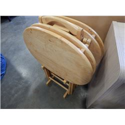 4 OVAL MAPLE TV TRAYS ON STAND