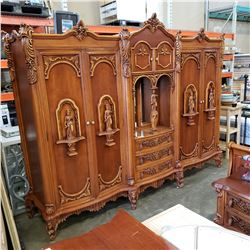 "ORNATE CARVED WARDROBE UNIT - APPROX 9FT 5"" WIDE, 87 INCHES TALL"