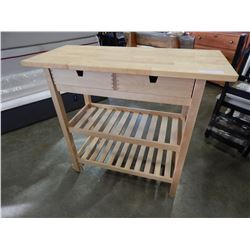 MAPLE 2 DRAWER BUTCHER BLOCK TOP ROLLING KITCHEN CART