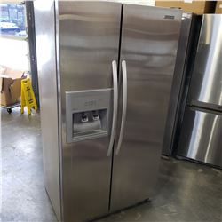 STAINLESS KITCHENAID SIDE BY SIDE REFRIDGERATOR WITH ICE MAKER AND WATER - TESTED AND WORKING