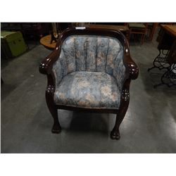 CHANNEL BACK WOOD FRAMED PAW FOOT CHAIR