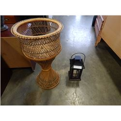 WICKER PLANTER STAND AND LANTERN
