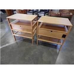 PAIR OF PINE 1 DRAWER END TABLES
