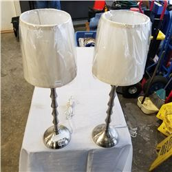 PAIR OF BRUSHED METAL TABLE LAMPS