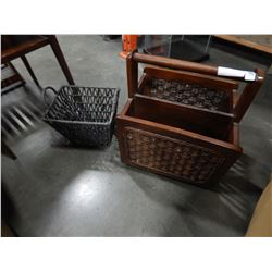 WOOD AND RATAN MAGAZINE RACK AND WICKER BASKETS