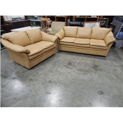 MUSTARD COLOR SOFA AND LOVESEAT