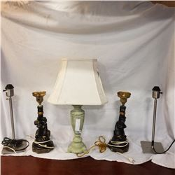 2 FIGURAL TABLE LAMPS AND 3 TABLE LAMPS