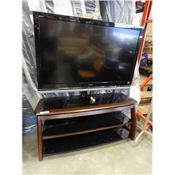 "SONY 52"" LCD TV ON ENTERTAINMENT STAND - TV HAS FAINT LINE"