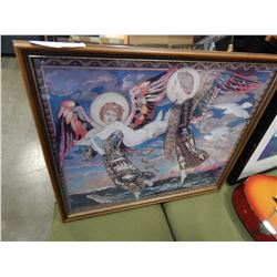JOHN DUNCAN PRINT ANGELS IN WOOD FRAME