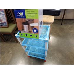3 TIER SHELF - APPROX 32 INCHES TALL AND SMALL SING OUT WASTE BIN