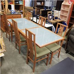MODERN GLASSTOP DINING TABLE W/ 6 CHAIRS - APPROX 51 INCHES LONG, 91 INCH FULLY EXTENDED