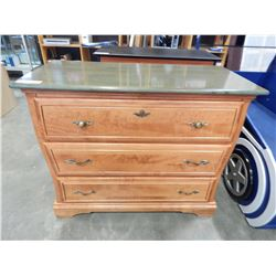 MAPLE GREEN TOP 3 DRAWER DRESSER - APPROX 33.5 INCHES TALL