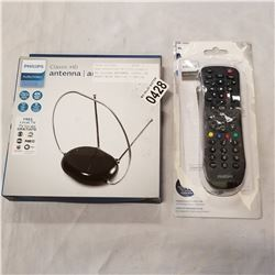 NEW OVERSTOCK PHILIPS CLASSIC HD DIGITAL ANTENNA, 1080P, 4K READY WITH PHILIPS 3 DEVICE UNIVERSAL RE