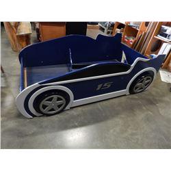 BLUE WOOD RACECAR KIDS BED ON CASTORS SINGLE SIZE