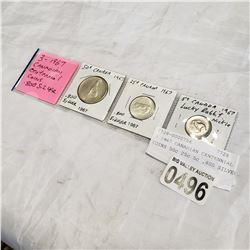 3 1967 CANADIAN CENTENNIAL COINS 50c 25c 5c .800 SILVER