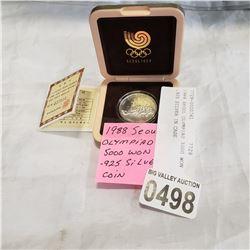 1988 SEOUL OLYMPIAD 5000 WON .925 SILVER IN CASE