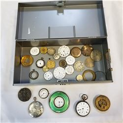 METAL BOX OF WATCH FACES AND PARTS