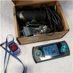 SEGA GENESIS PORTABLE PLAYER, PULSE OXIMETER AND SPORTS ACTION CAMERA