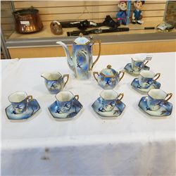 JAPAN HAND PAINTED BLUEBIRD PATTERN COFFEE POT, CREAM AND SUGAR, AND CUPS AND SAUCERS