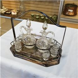 SILVER PLATE SERVING TRAY AND CRYSTAL DOUBLE DECANTER SET