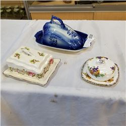 OLD FOLEY, ROYAL STAFFORD, AND FLOW BLUE IRONSTONE CHEESE DISHES