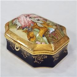IMPERIAL LIMOGE PORCELAIN JEWELLERY BOX - APPROX 6 INCH WIDE