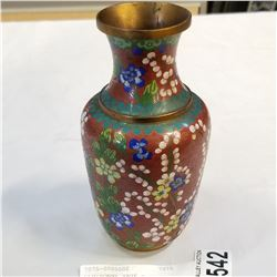 CLOISONNE VASE - DENTED/DAMAGED - APPROX 6 3/4 INCH TALL