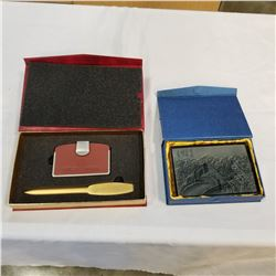 CHINESE PEOPLES ARMED POLICE FORCE LETTER OPENER AND CARD HOLDER, AND GREAT WALL OF CHINA ACRYLIC WA