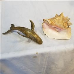 BRASS WHALE AND CONCH SHELL