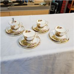 4 SHELLY HEATHER PATTERN BONE CHINA CUP AND SAUCER TRIOS