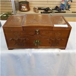 CARVED CHINESE JEWELLERY BOX MID CENTURY
