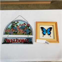 STAINED GLASS WELCOME SIGN AND BUTTERFLY IN SHADOW BOX
