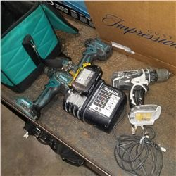 3 MAKITA DRILLS AND BATTERY WITH CHARGER- TESTED AND WORKING