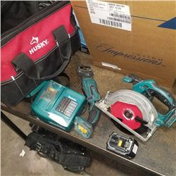 MAKITA CORDLESS CIRCULAR SAW AND SAWZALL, BATTERY, AND CHARGER - TESTED AND WORKING