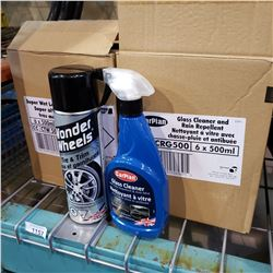 BOX OF SUPER WET FINISH AND BOX OF GLASS CLEANER RAIN REPELLANT
