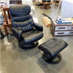 BLACK LEATHER SWIVEL CHAIR AND FOOTSTOOL