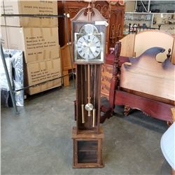 WALNUT BEACON GRANDFATHER CLOCK, BATTERY POWERED