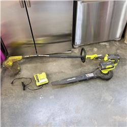 RYOBI CORDLESS 40V LITHIUM WEEDEATER AND LEAF BLOWER WITH 2 BATTERIES AND CHARGER
