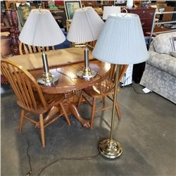 BRASS FLOOR LAMP AND 2 METAL TABLE LAMPS