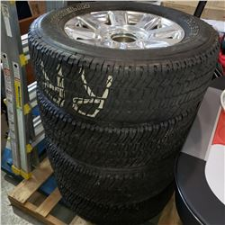 AS NEW, SET OF FOUR MICHELIN LTX-A/T M& S LT275/65R20 TIRES ON 8 BOLT FORD F350 PLATINUM/ KING RANCH