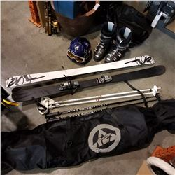 K2 SKIS WITH MARKER BINDINGS,K2 SNOWBOARD BAG, SKI POLES, NORDICA BOOTS AND HELMET