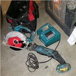 MAKITA CORDLESS CIRCULAR SAW AND SAWZALL WITH CHARGER- TESTED AND WORKING