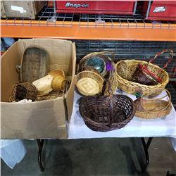 BOX OF WICKER BASKETS