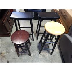 4 STOOLS, 2 BLACK SADDLES AND 2 OTHERS