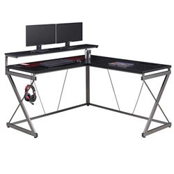 NEW Z LINE L SHAPED GAMING DESK WITH POWER OUTLET, IN BOX.