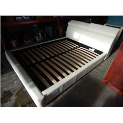 WHITE LEATHER QUEENSIZE BED FRAME W/ ADJUSTABLE HEAD RESTS AND HEAD BOARD