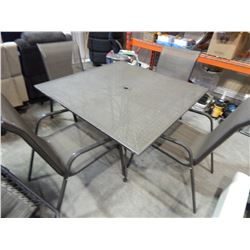 PLANTATION PATTERNS METAL PATIO TABLE AND 4 CHAIRS
