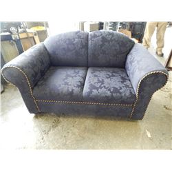 BLUE ROLLED ARM LOVE SEAT